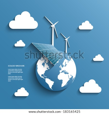 Renewable energy sources symbols suitable for infographics or presentation. Eps10 vector illustration - stock vector