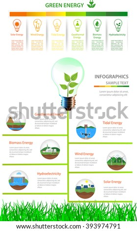 Renewable energy types. Power plant icons vector set. Renewable alternative solar, wind, hydro, biofuel, geothermal, tidal  energy. Green energy/Renewable energy  - stock vector