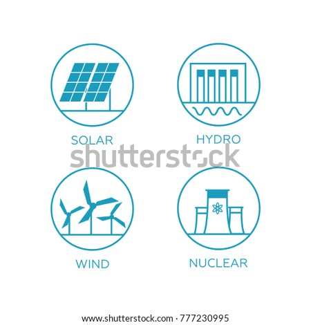 Renewable energy vector illustration. Renewable energy concept in flat style. Energy solar and wind power