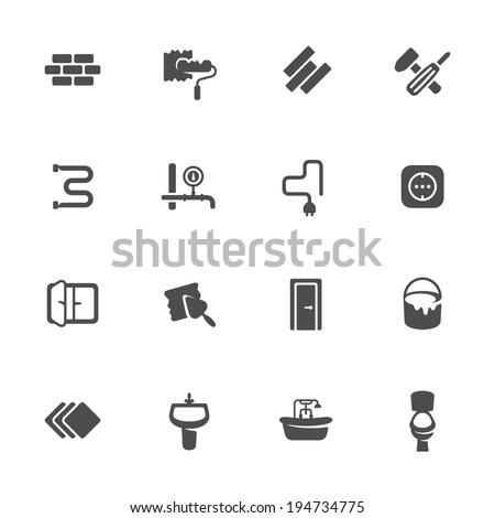 Renovation icon set - stock vector