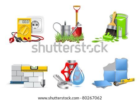 Renovation service. Icons | Bella series - stock vector