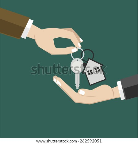 Rent a house  and House for sale / flat design / house key - stock vector