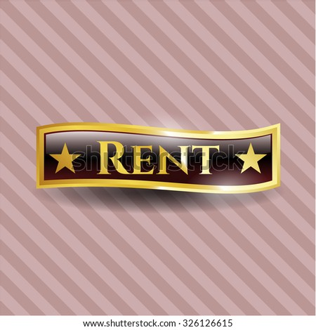 Rent gold badge - stock vector