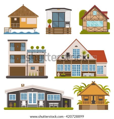 Rent house set. Modern apartments and suites, private cabins, wooden bungalows, chalet and country houses collection for booking and living. Vector house and apartment set. Tourist homes isolated. - stock vector