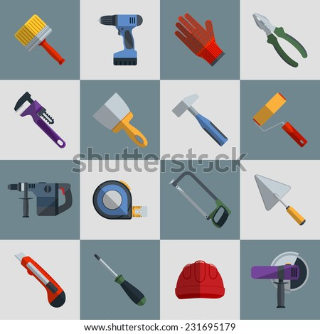 Repair and construction tools flat icons set with hammer saw screwdriver isolated vector illustration - stock vector