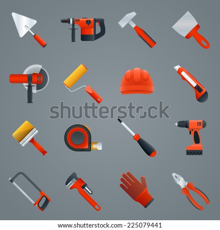 Repair and construction tools icons set with hammer saw screwdriver isolated vector illustration - stock vector