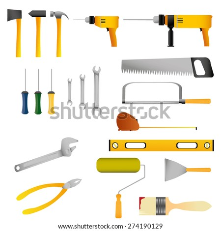 Repair and construction tools set. - stock vector