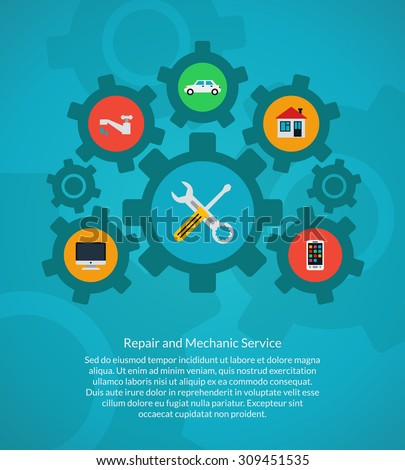 Repair and mechanic service. Home and computer, car and plumbing, smartphone and tool wrench, vector illustration - stock vector