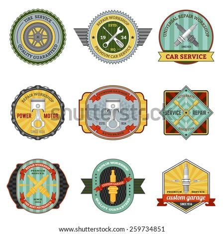 Repair auto repair mechanic transportation workshop retro badges set isolated vector illustration - stock vector