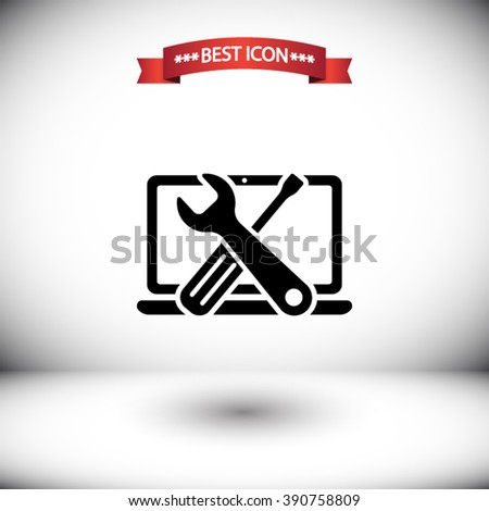 Repair computer vector icon. Repair computer icon under the red ribbon. Shadow under Repair computer vector icons. Repair computer icon on gray background. - stock vector