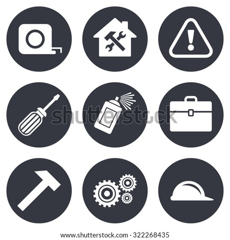 Repair, construction icons. Helmet, screwdriver and hammer signs. Gears, painting spray and attention symbols. Gray flat circle buttons. Vector