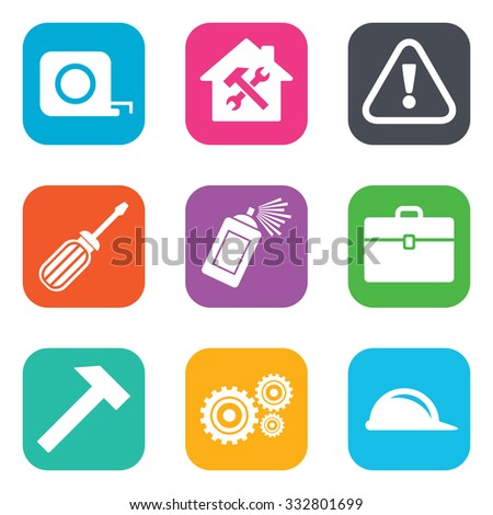 Repair, construction icons. Helmet, screwdriver and hammer signs. Gears, painting spray and attention symbols. Flat square buttons. Vector