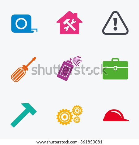 Repair, construction icons. Helmet, screwdriver and hammer signs. Gears, painting spray and attention symbols. Flat colored graphic icons.