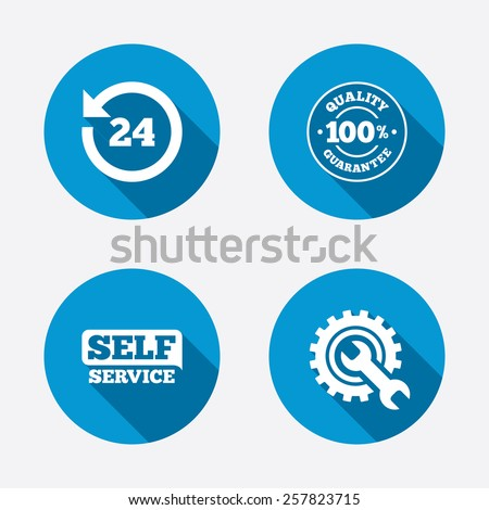 Repair fix tool icons. 24h Customer support service signs. 100% quality guarantee symbol. Cogwheel gear with wrench key. Circle concept web buttons. Vector - stock vector