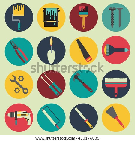 Repair house tools flat vector collection 16 different instruments