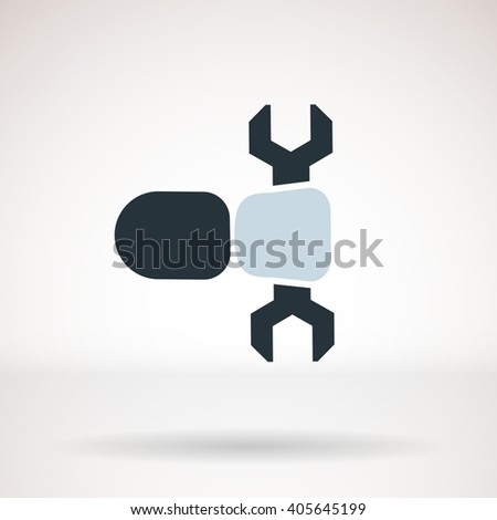 Repair icon, isolated. Hand with a wrench. Vector. - stock vector