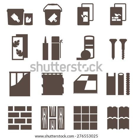 repair icons. vector set. construction materials. - stock vector