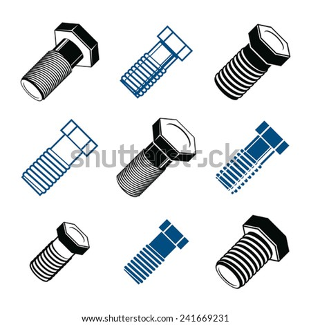 Repair instruments collection, 3d tools, screws. Construction idea simple objects, design elements. - stock vector