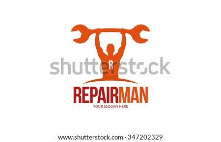 Repair Man Logo - stock vector