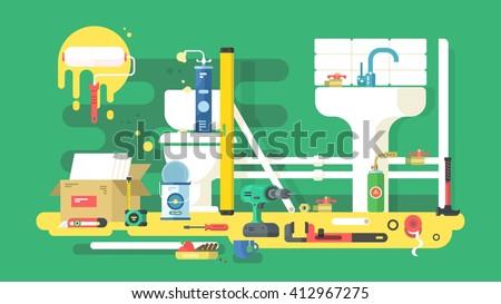Repair of bathroom - stock vector