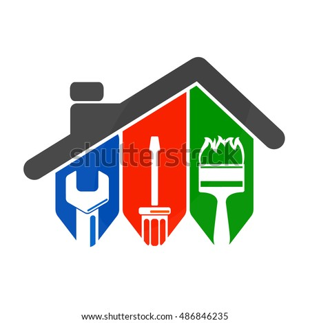 Repair of home with a tool, for business symbol