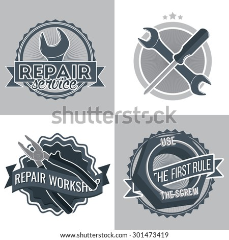 Repair service's emblem template. Logo for mechanic workshop with tools - wrench, screw, pliers, crossed wrench and screwdriver. Vector illustration - stock vector