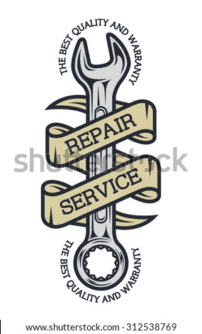 Repair Service. Spanners and ribbon for your text. - stock vector