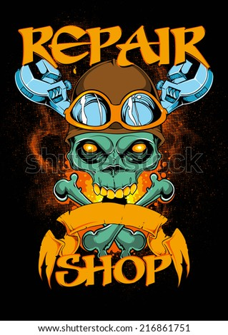 Repair shop - stock vector