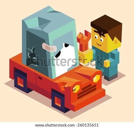 repair the car. vector illustration - stock vector