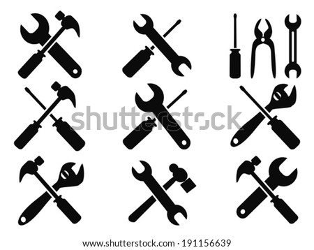 repair tool icons set - stock vector