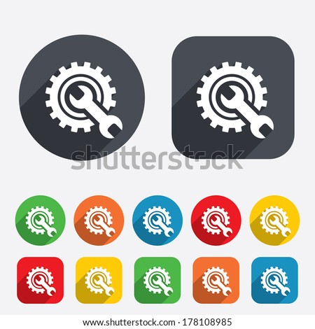 Repair tool sign icon. Service symbol. Hammer with wrench. Circles and rounded squares 12 buttons. Vector - stock vector