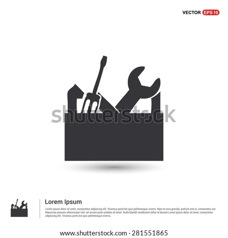 repair Toolbox with Tools icon - abstract logo type icon - isometric white background. Vector illustration - stock vector