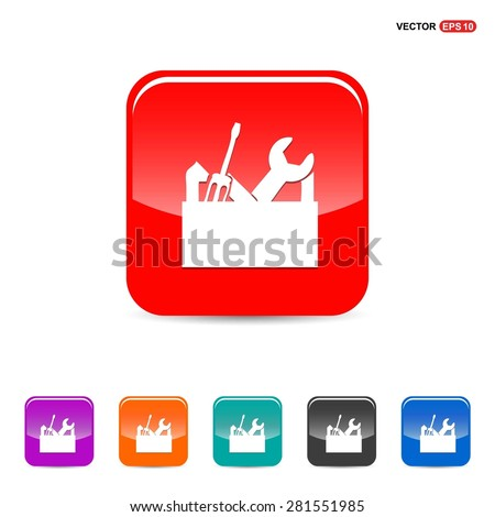 repair Toolbox with Tools icon - abstract logo type icon - red, orange, turquoise, black and blue 3d button background. Vector illustration - stock vector