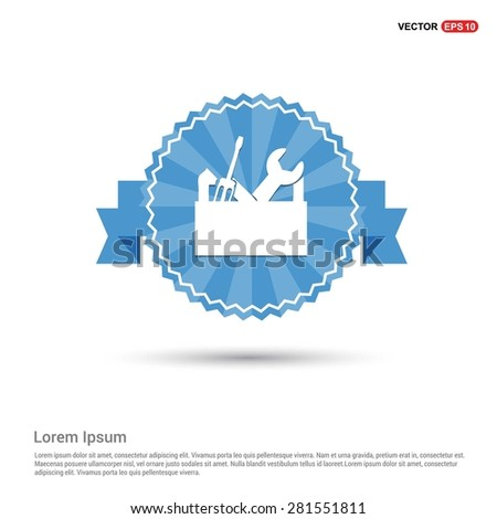 repair Toolbox with Tools icon - abstract logo type icon - Retro vintage badge and label Blue background. Vector illustration - stock vector