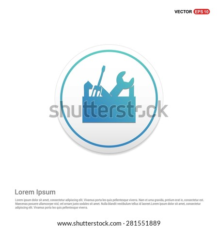 repair Toolbox with Tools icon - abstract logo type icon - turquoise icon on white button background. Vector illustration - stock vector