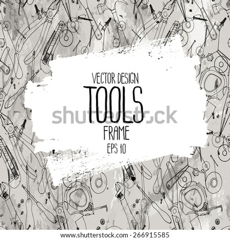 Repair tools frame. Cutter, screwdriver, pliers, adjustable wrench, bolt, screw, nut, scotch tape, measuring tape, hammer, dowel nail. Vector design on craft paper - stock vector