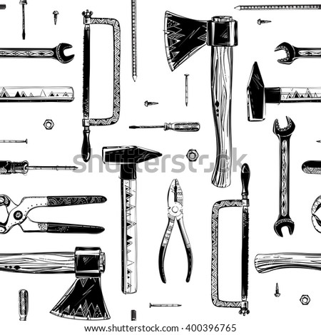 Repair tools set with handmade drawings, seamless texture, black and white