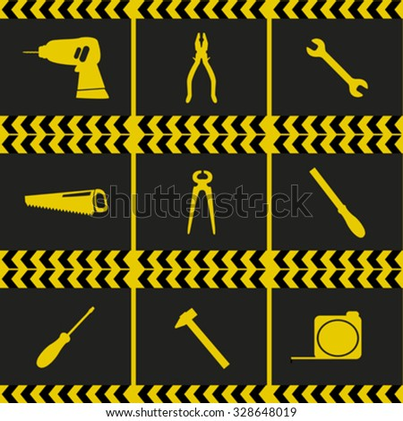 Repairing service tool sign icons set - stock vector