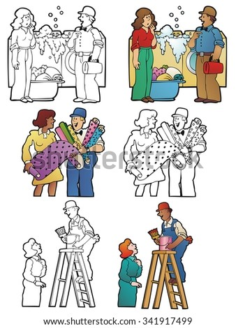 Repairman and builders interacting with women in different situations. Full color, and black outline versions - stock vector