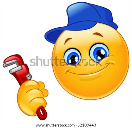 Repairman emoticon - stock vector