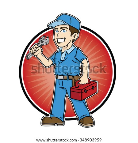 Repairman holding a wrench and toolbox for your business logo