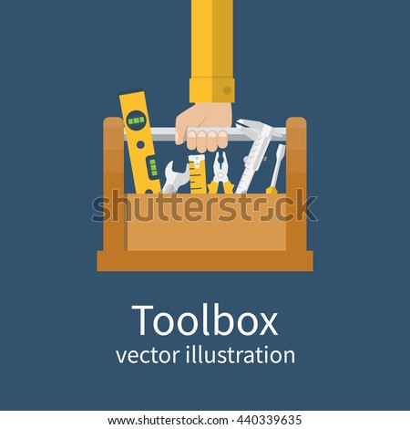 Repairman holding toolbox. Vector illustration flat design style. Hand with instrument isolated. Concept of repair services. Set instrument builder, handyman. - stock vector