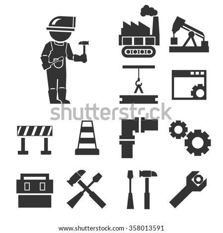repairman icon set - stock vector
