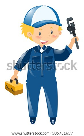 Repairman in blue uniform illustration