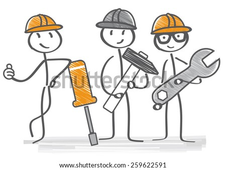 Repairman with different tools provide service - stock vector