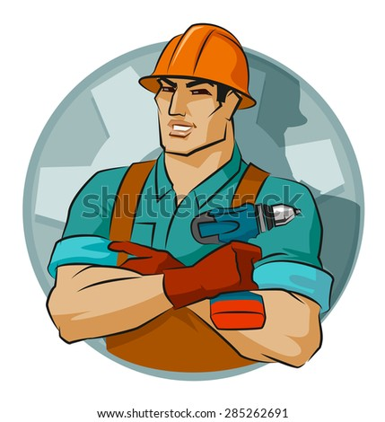 repairman with screw gun on a white background - stock vector