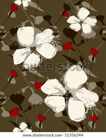 repeat floral seamless - stock vector