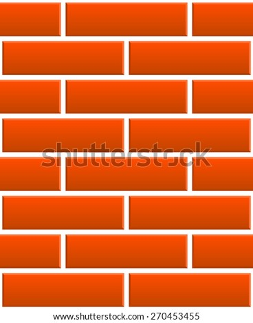 Repeatable pattern of undamaged brick wall, brickwork texture with regular pattern, 3d bevel effect. Architecture, renovation, building, construction themes - stock vector