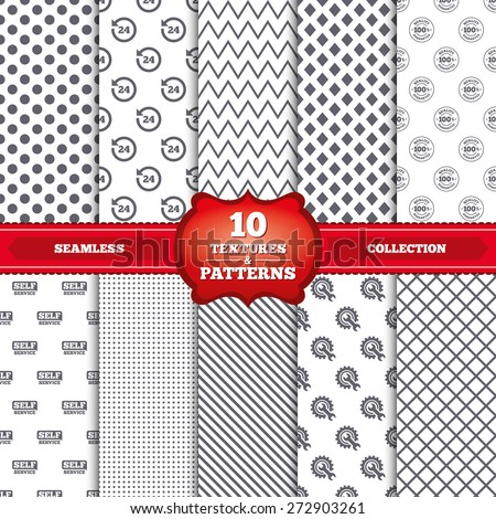 Repeatable patterns and textures. Repair fix tool icons. 24h Customer support service signs. 100% quality guarantee symbol. Cogwheel gear with wrench key. Gray dots, circles, lines on white background - stock vector