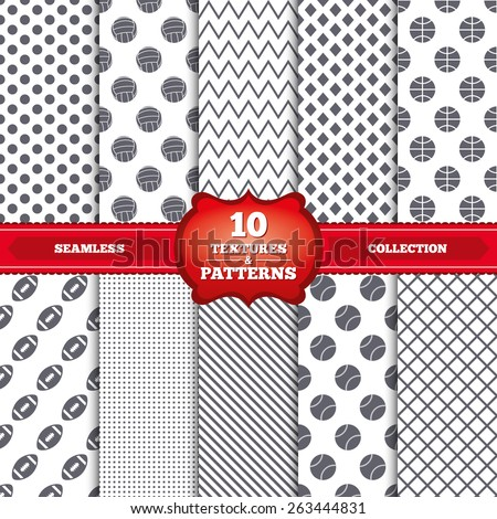 Repeatable patterns and textures. Sport balls icons. Volleyball, Basketball, Baseball and American football signs. Team sport games. Gray dots, circles, lines on white background. Vector  - stock vector
